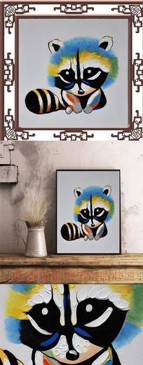可爱小熊油画