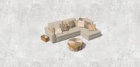 米色沙发组合