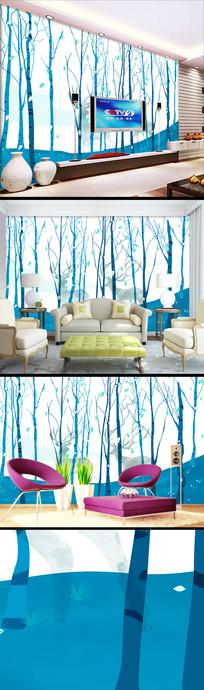 手绘森林北欧麋鹿壁纸装饰画