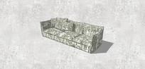 印花灰色三人沙发