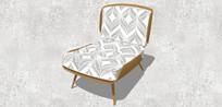 印花欧式躺椅式单人沙发