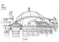 圆顶建筑手绘效果图