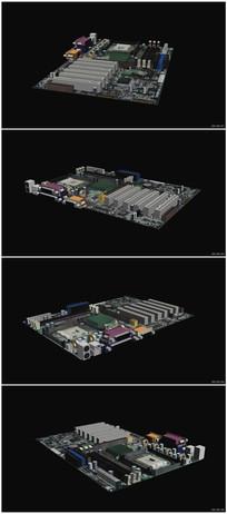 电脑主板虚全息零件组合