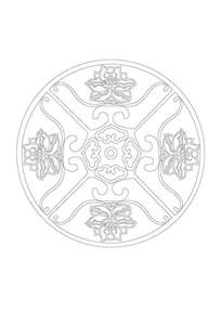 莲花元素雕刻纹样