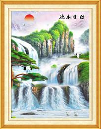 流水生财山水风景油画