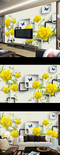 梦幻玫瑰花朵3D时尚电视背景墙