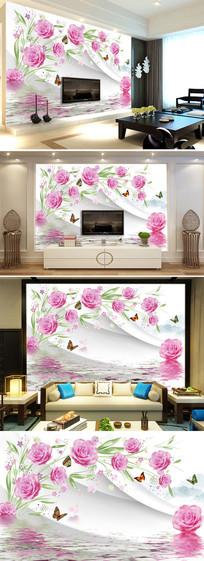 现代简约3d立体玫瑰花客厅电视背景墙图片