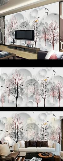 现代简约抽象花卉树木壁画电视背景墙