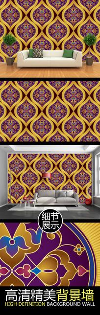 高档金色华丽花纹图案电视背景墙
