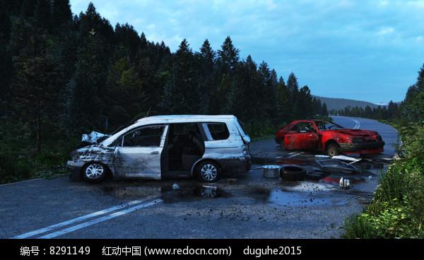 公路上的车祸3d模型图片