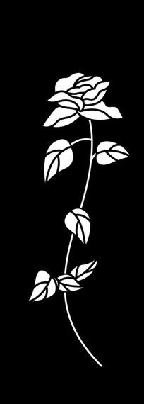 一枝玫瑰雕刻图案