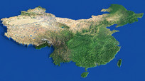 中国地图地形3d模型