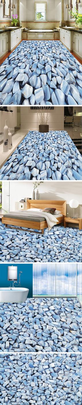 鹅卵石3D立体地板地砖地画3