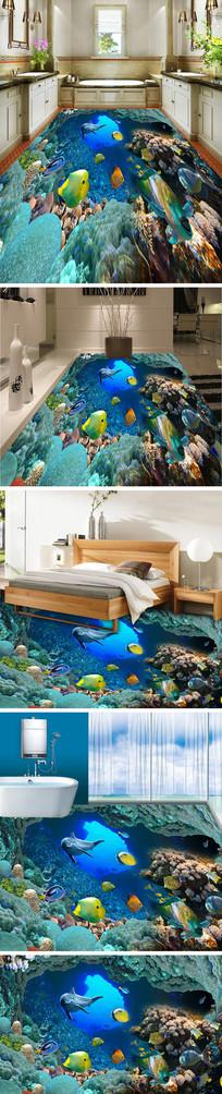 海底世界海豚3D立体地板地砖地画