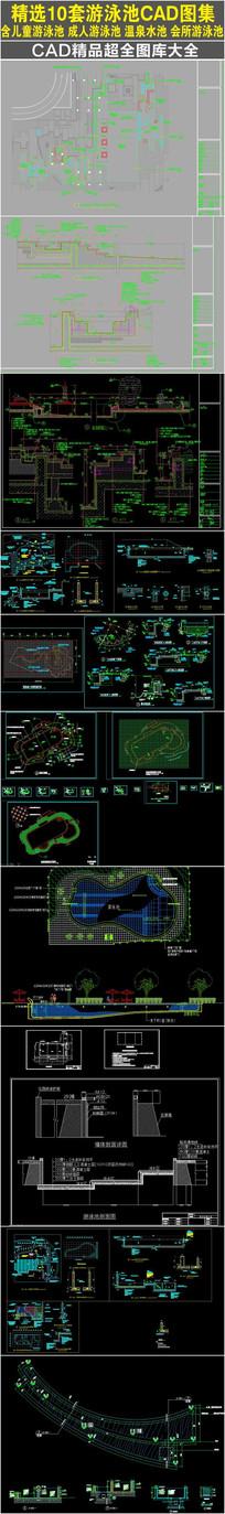 精选10游泳池细节施工CAD图集 CAD