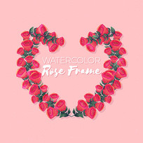 情人节花朵组成心形矢量素材