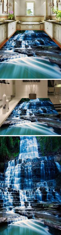 山涧瀑布3D立体地板地砖地画 TIF