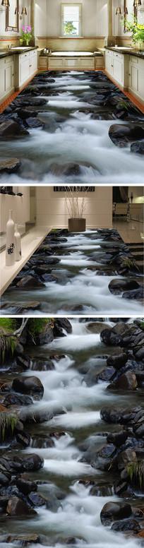 溪流瀑布3D立体地板地砖地画 PSD
