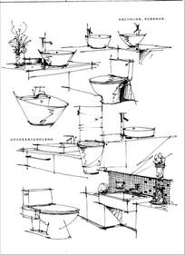 浴室用具手绘图