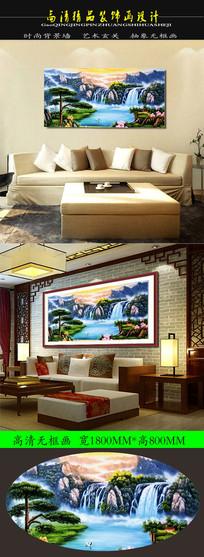 中国风油画彩云伴仙鹤装饰画