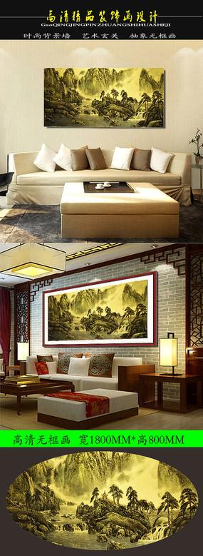 中国古典油画山川竞秀装饰画