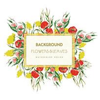 保健品包装手绘花卉边框素材
