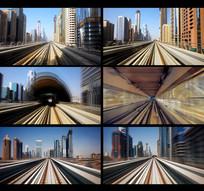 地铁火车在轨道行使穿梭视频