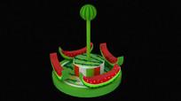 儿童游乐场西瓜转盘转马3D模型