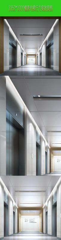 灰色 冷色调电梯厅设计效果图表现效果图  JPG