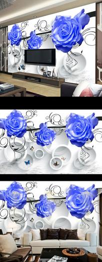 蓝色玫瑰花朵3D电视背景墙