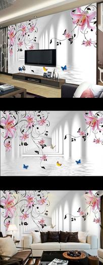 梦幻百合花朵时尚电视背景墙