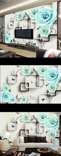 梦幻蓝色玫瑰花朵电视背景墙