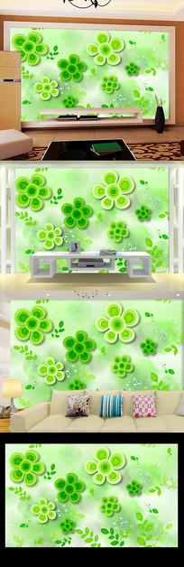 清新幸运草绿色背景墙