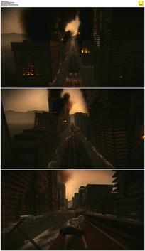 三维城市灾难模型动态视频素材