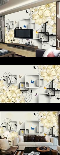 现代简约抽象花朵电视背景墙