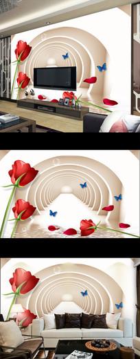 现代简约玫瑰花朵电视背景墙