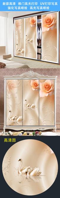鲜花时尚移门图案衣柜门打印图案