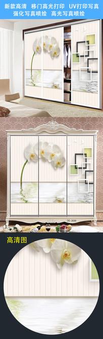 鲜花图案衣柜门打印图案