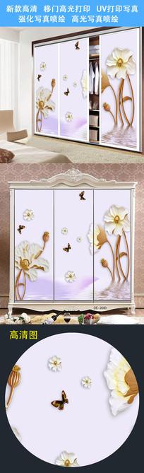 鲜花移门图案柜门打印图案