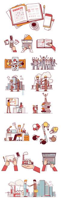 工作场景人物插画 AI