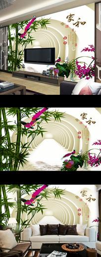 家和富贵竹子花鸟电视背景墙