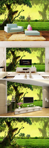 绿色森林大树电视背景墙
