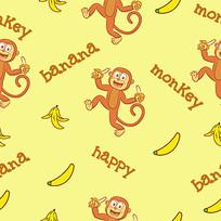 食品包装猴子香蕉图案背景