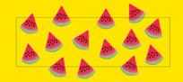西瓜拼貼紙圖案产品标贴设计