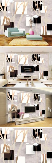 3D立体抽象树麋鹿电视背景墙