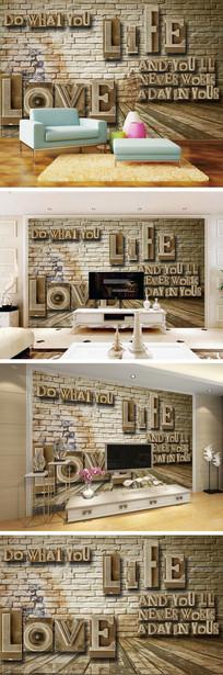 3D立体金属英文电视背景墙