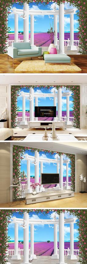 3D立体罗马柱花海电视背景墙