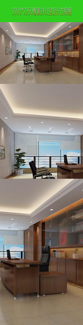 办公室设计效果图方案 JPG