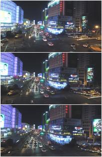 城市夜景路口红绿灯霓虹灯视频