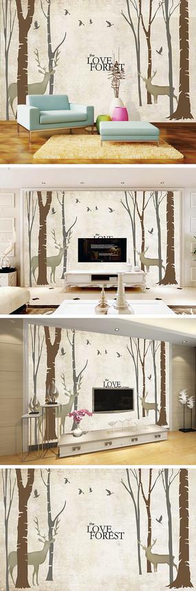 抽象树麋鹿电视背景墙